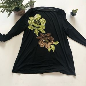 Black Blouse with flowers and sequins